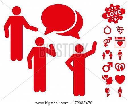 Forum icon with bonus romantic images. Vector illustration style is flat iconic red symbols on white background.
