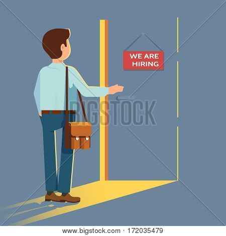Vector flat illustration of man in business clothes opens the door with a sign We are hiring. Concept search works