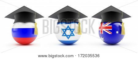 Education set Russia Australia Israel on a white background 3D illustration
