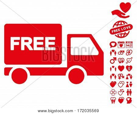 Free Delivery icon with bonus passion icon set. Vector illustration style is flat iconic red symbols on white background.