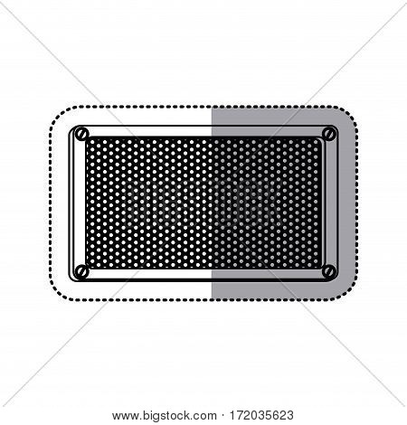 sticker silhouette rectangle metallic frame with grill perforated vector illustration