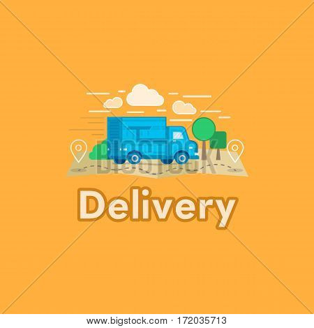 Vector illustration of cartoon delivery van isolated on orange background. Flat style logotype or mark. Side view, profile. Blue truck delivery. Courier delivery transport. Cargo auto.