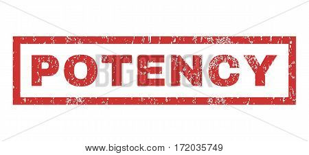 Potency text rubber seal stamp watermark. Caption inside rectangular banner with grunge design and scratched texture. Horizontal vector red ink sticker on a white background.