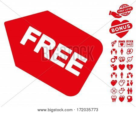 Free Sticker pictograph with bonus lovely clip art. Vector illustration style is flat iconic red symbols on white background.