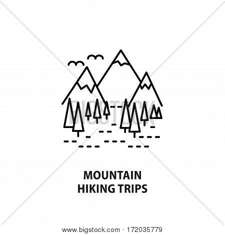Vector logo for mountain hiking trips isolated on white. Design concept for travel agency outdoor activity in line style