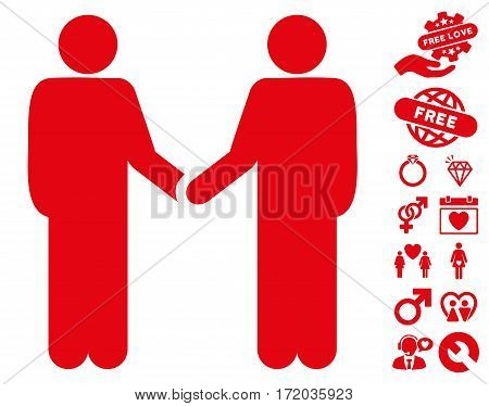 Friend Meeting pictograph with bonus amour pictograms. Vector illustration style is flat iconic red symbols on white background.