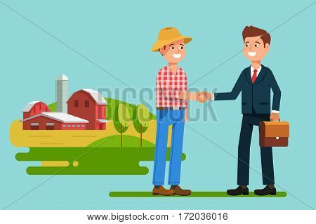 The meeting businessmen shaking hands farmer . Greeting to the partner and business handshake. Stock vector illustration flat style.