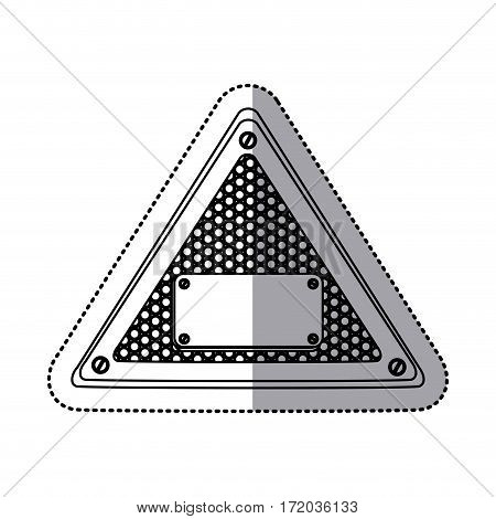 sticker silhouette triangle metallic frame with grill perforated and plaque with screws vector illustration