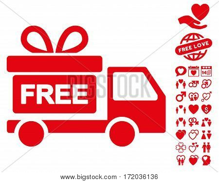 Gift Delivery icon with bonus passion pictures. Vector illustration style is flat iconic red symbols on white background.