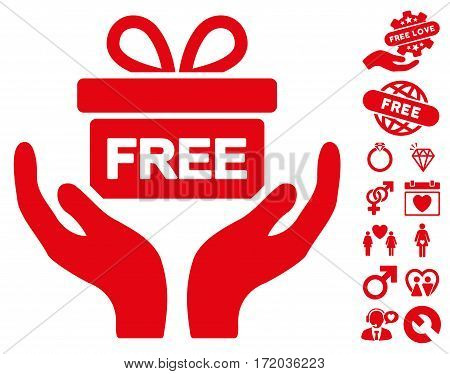 Give Present icon with bonus lovely icon set. Vector illustration style is flat iconic red symbols on white background.