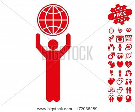Globalist pictograph with bonus decorative icon set. Vector illustration style is flat iconic red symbols on white background.