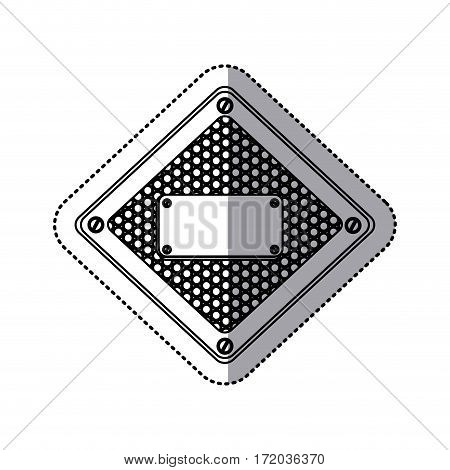 sticker silhouette diamond metallic frame with grill perforated and plaque with screws vector illustration