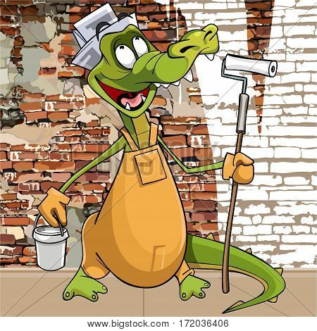 cartoon character funny crocodile in the attire of a painter plasterer