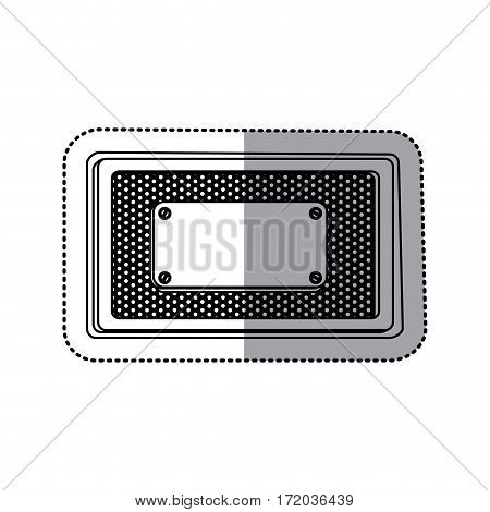 sticker silhouette rectangle grille perforated frame with metal plate and screws vector illustration