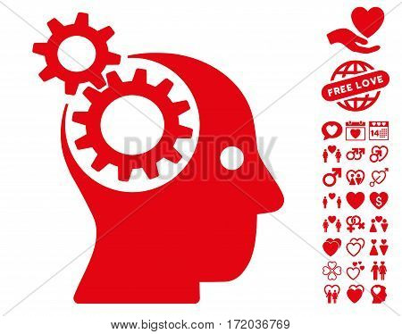 Intellect Gears icon with bonus decoration pictograph collection. Vector illustration style is flat iconic red symbols on white background.