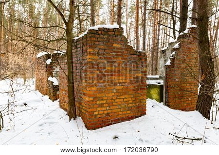 old lost house in winter forest