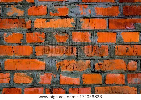 old wall with red brickwork - abstract background