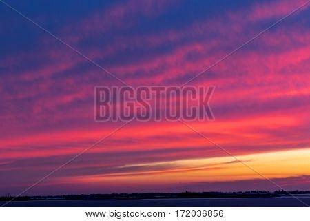 Landscape with nice evening sunset sky