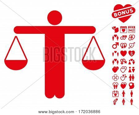Judge Person icon with bonus amour pictograph collection. Vector illustration style is flat iconic red symbols on white background.