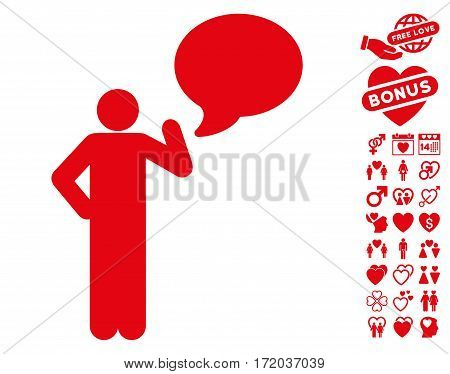 Man Idea Balloon icon with bonus amour pictures. Vector illustration style is flat iconic red symbols on white background.