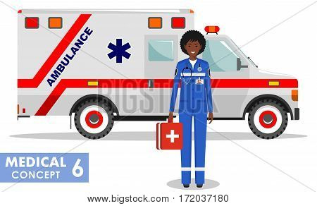 Detailed illustration of african american medical people and ambulance car in flat style on white background.