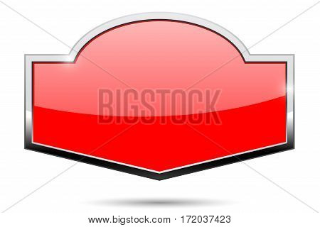 Red shiny shield with chrome frame. Vector illustration isolated on white background