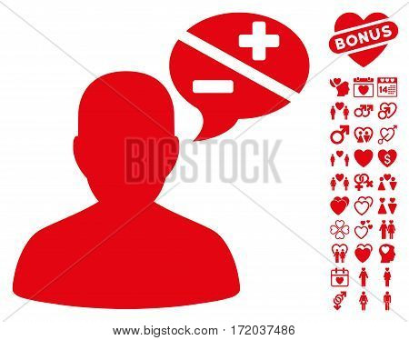 Person Arguments icon with bonus amour symbols. Vector illustration style is flat iconic red symbols on white background.