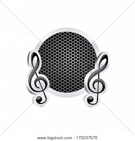 sign music treble clef icon relief with metallic frame with grill perforated vector illustration