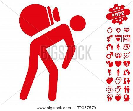 Porter pictograph with bonus amour pictograms. Vector illustration style is flat iconic red symbols on white background.