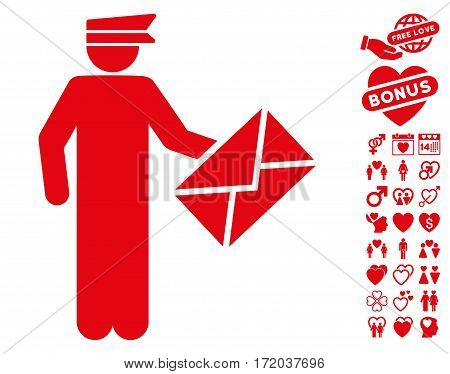 Postman pictograph with bonus passion icon set. Vector illustration style is flat iconic red symbols on white background.