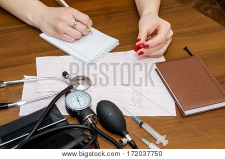 Medical concept - cardiogram pressure meter syringes and ampoules