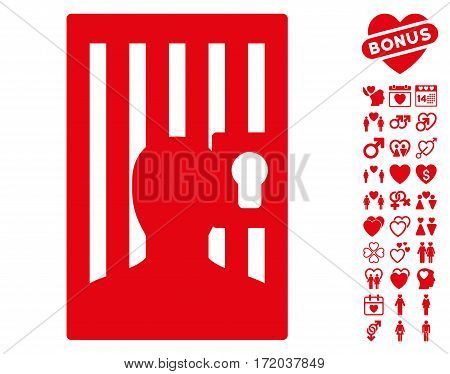 Prison Door pictograph with bonus decoration symbols. Vector illustration style is flat iconic red symbols on white background.