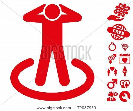 Prison pictograph with bonus love pictograph collection. Vector illustration style is flat iconic red symbols on white background.