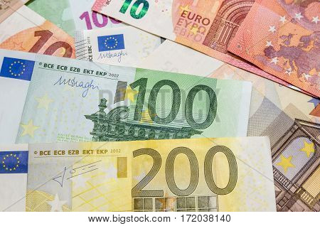 different euro money. Euro currency close up