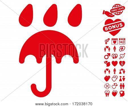 Rain Protection icon with bonus decoration symbols. Vector illustration style is flat iconic red symbols on white background.