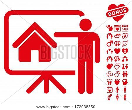 Realtor icon with bonus dating pictures. Vector illustration style is flat iconic red symbols on white background.