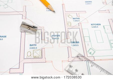 Modern Architectural Plan, Pencil And Ruler, Compass