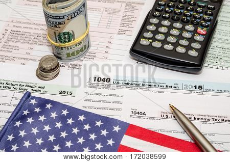 Tax Form Financial Concept With Flag And Money