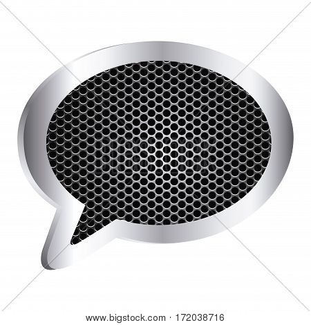 dialog callout box with grill perforated frame icon relief vector illustration