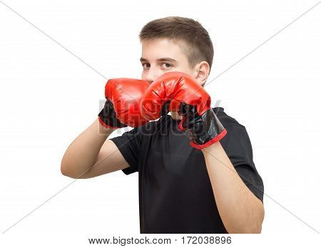 The photo depicts a boy in boxing gloves on a white background