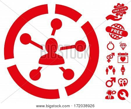 Relations Diagram icon with bonus amour symbols. Vector illustration style is flat iconic red symbols on white background.