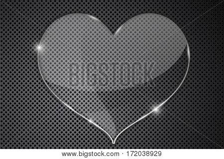 Heart transparent plate on metal perforated background. Vector illustration