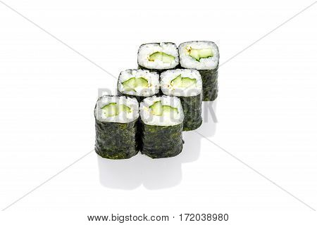 Roll with cucumber, cucumber on a white background