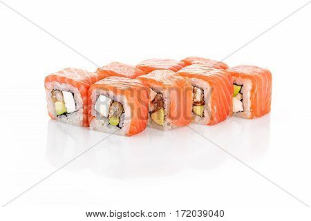 Roll Philadelphia, eel, salmon, cream cheese, avocado on a white background