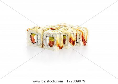 Roll, eel, salmon, soft cheese, on a white background