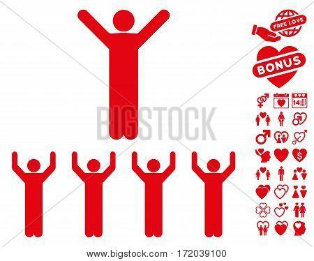 Religion icon with bonus valentine symbols. Vector illustration style is flat iconic red symbols on white background.