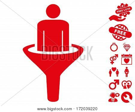 Sales Funnel pictograph with bonus romantic pictograms. Vector illustration style is flat iconic red symbols on white background.