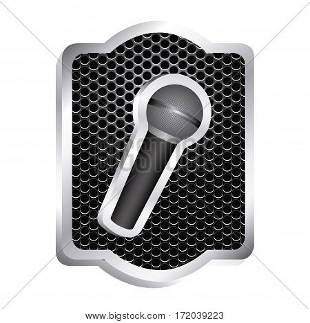 heraldic frame with grill surface and wireless dynamic microphone icon relief vector illustration
