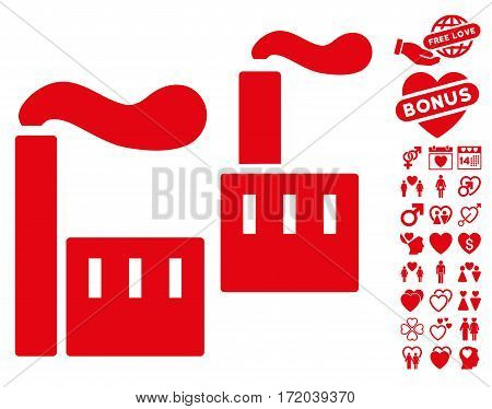 Smoking Industry pictograph with bonus passion images. Vector illustration style is flat iconic red symbols on white background.