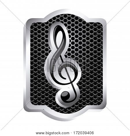 heraldic frame with grill surface and sign music treble clef icon relief vector illustration